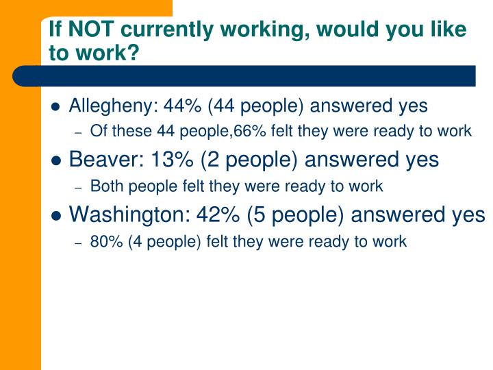 If NOT currently working, would you like to work?