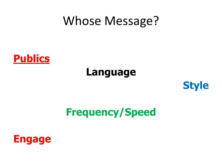 Whose Message?
