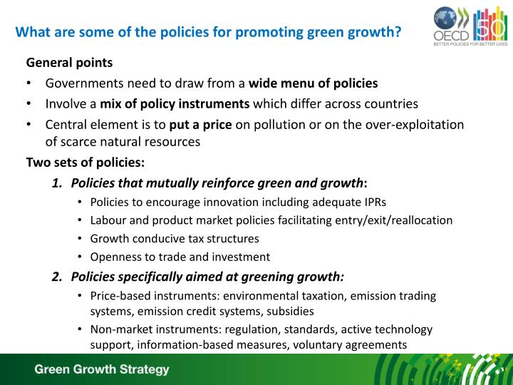 What are some of the policies for promoting green growth?