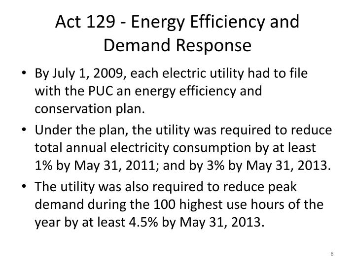 Act 129 - Energy Efficiency and Demand Response