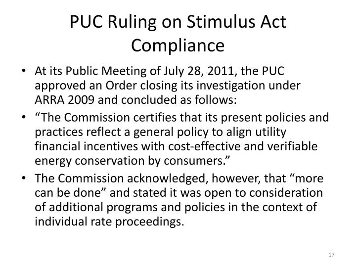 PUC Ruling on Stimulus Act Compliance
