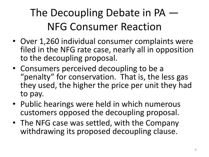 The decoupling debate in pa nfg consumer reaction