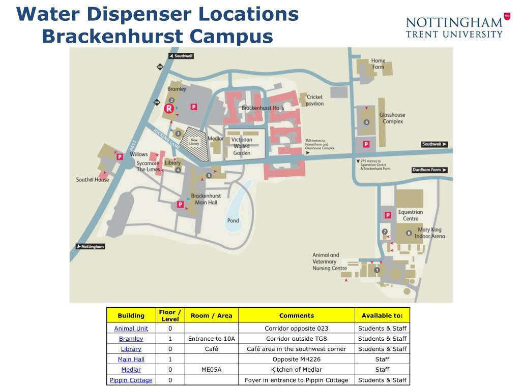 Ppt Water Dispenser Locations Brackenhurst Campus Powerpoint
