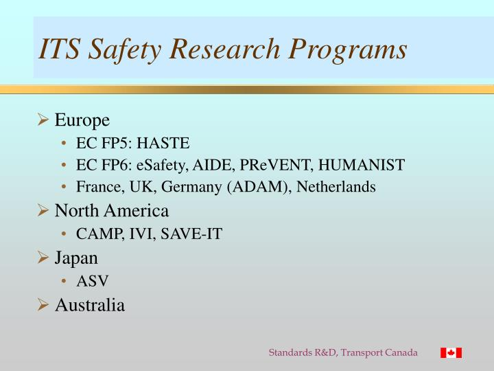ITS Safety Research Programs