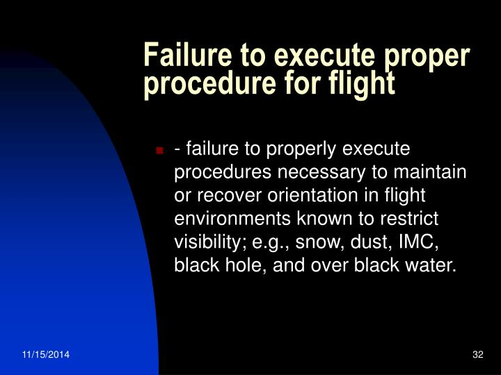 Failure to execute proper procedure for flight