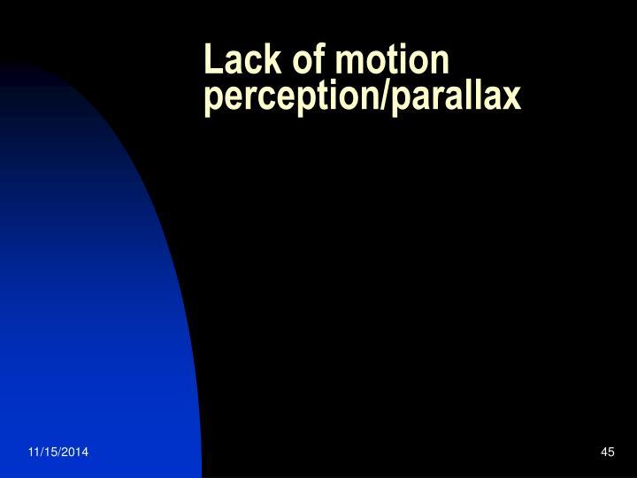 Lack of motion perception/parallax