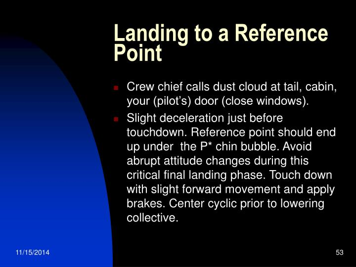 Landing to a Reference Point