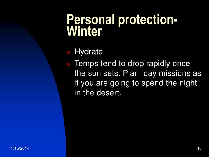 Personal protection- Winter
