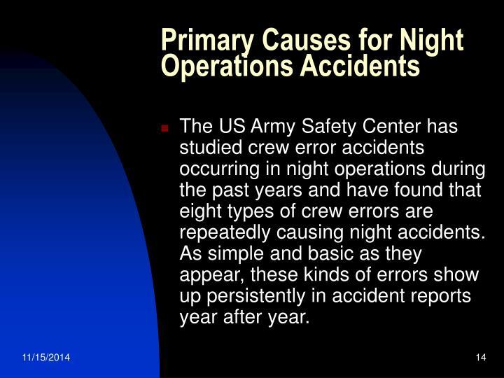 Primary Causes for Night Operations Accidents
