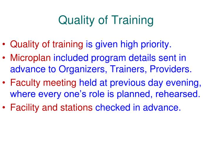Quality of Training