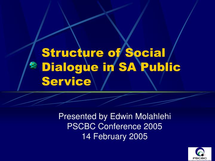 structure of social dialogue in sa public service n.