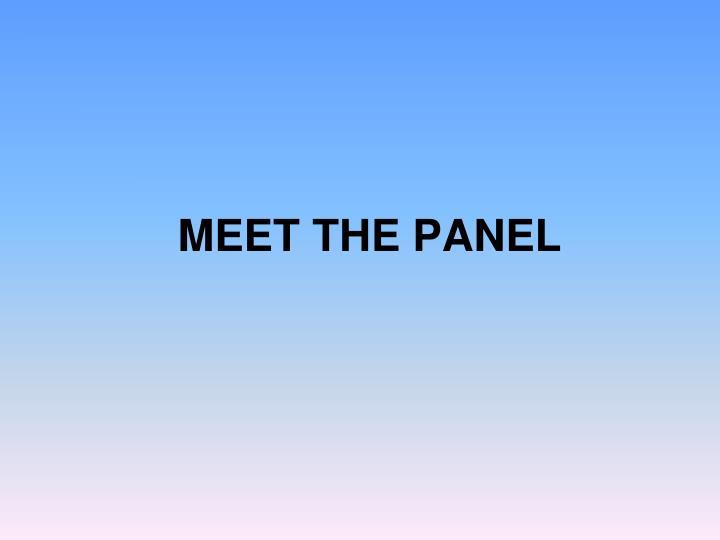 Meet the panel
