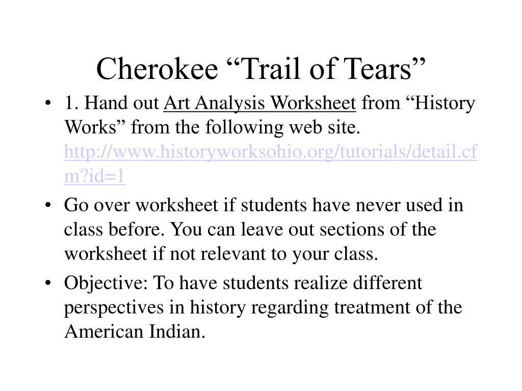 Worksheets Trail Of Tears Worksheet ppt cherokee of powerpoint presentation id6652843 trail tears n