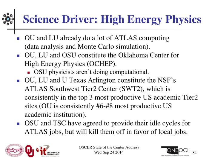 Science Driver: High Energy Physics