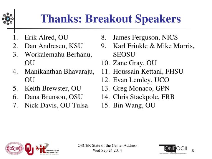 Thanks: Breakout Speakers