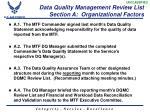 data quality management review list section a organizational factors