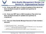 data quality management review list section a organizational factors1