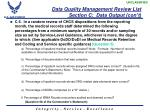 data quality management review list section c data output con t2