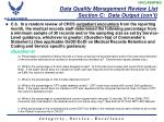 data quality management review list section c data output con t3