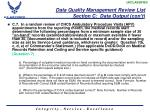 data quality management review list section c data output con t4