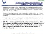 data quality management review list section c data output con t5