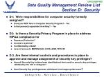 data quality management review list section d security