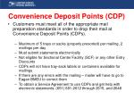 convenience deposit points cdp