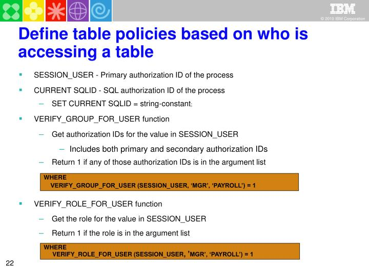 Define table policies based on who is accessing a table