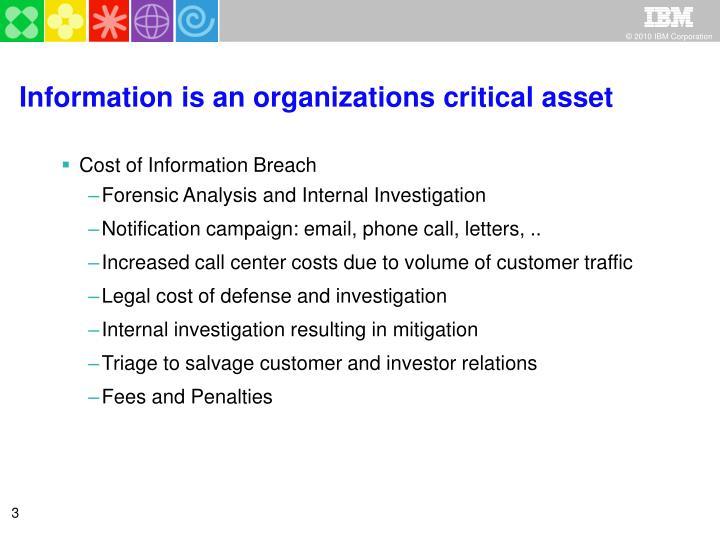 Information is an organizations critical asset
