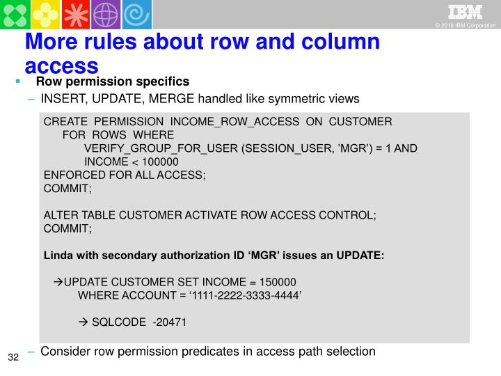 More rules about row and column access