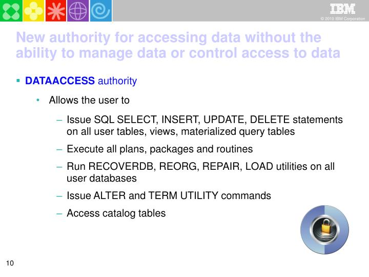 New authority for accessing data without the ability to manage data or control access to data