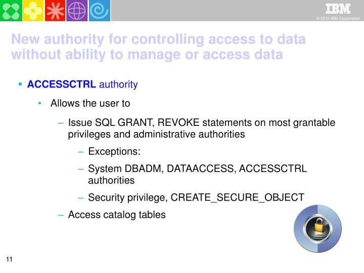 New authority for controlling access to data without ability to manage or access data