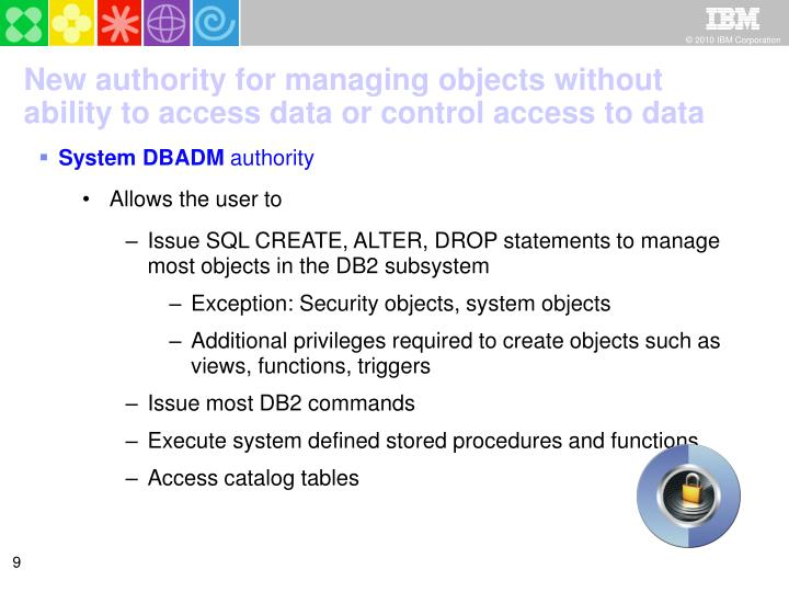 New authority for managing objects without ability to access data or control access to data