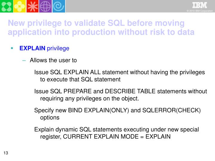 New privilege to validate SQL before moving application into production without risk to data