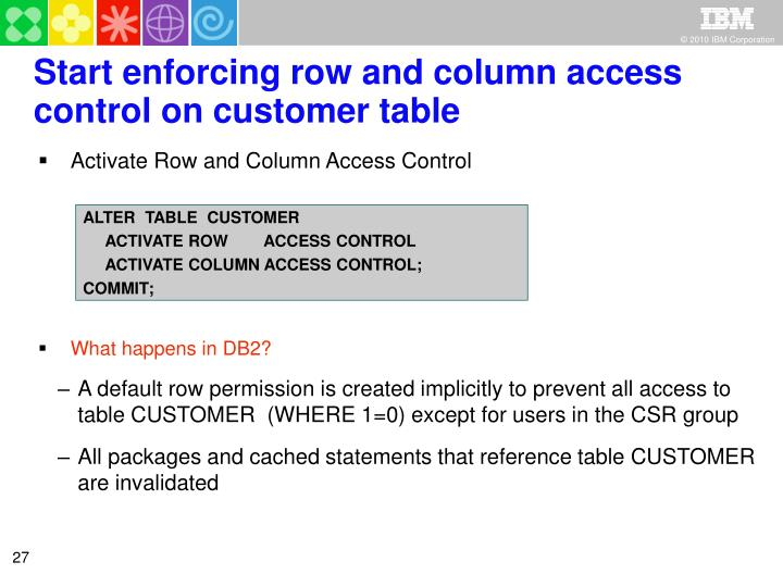 Start enforcing row and column access control on customer table