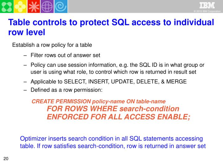 Table controls to protect SQL access to individual row level