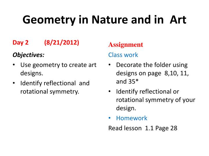 geometry in nature and in art n.