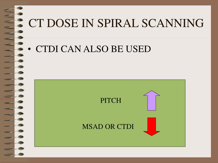 CT DOSE IN SPIRAL SCANNING
