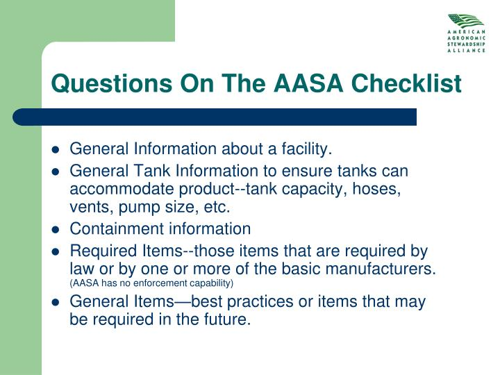 Questions On The AASA Checklist
