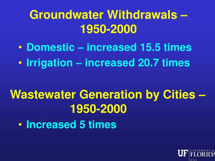 Groundwater Withdrawals –