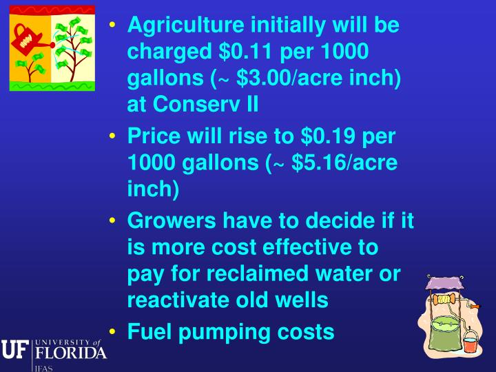 Agriculture initially will be charged $0.11 per 1000 gallons (~ $3.00/acre inch) at Conserv II