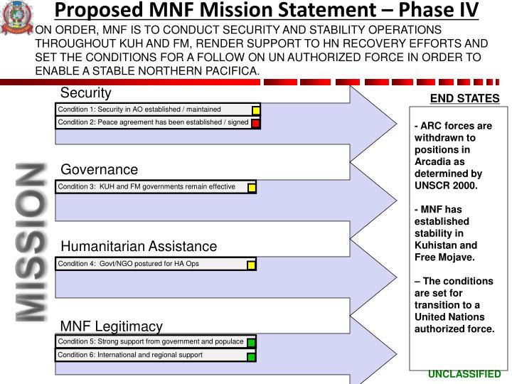 Proposed MNF Mission Statement – Phase IV