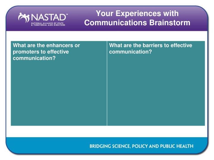 Your Experiences with Communications Brainstorm