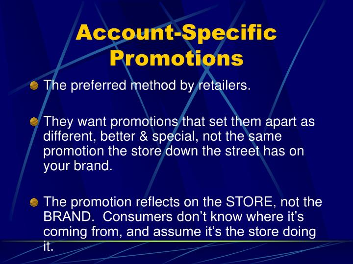 Account-Specific Promotions