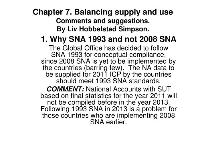 chapter 7 balancing supply and use comments and suggestions by liv hobbelstad simpson n.