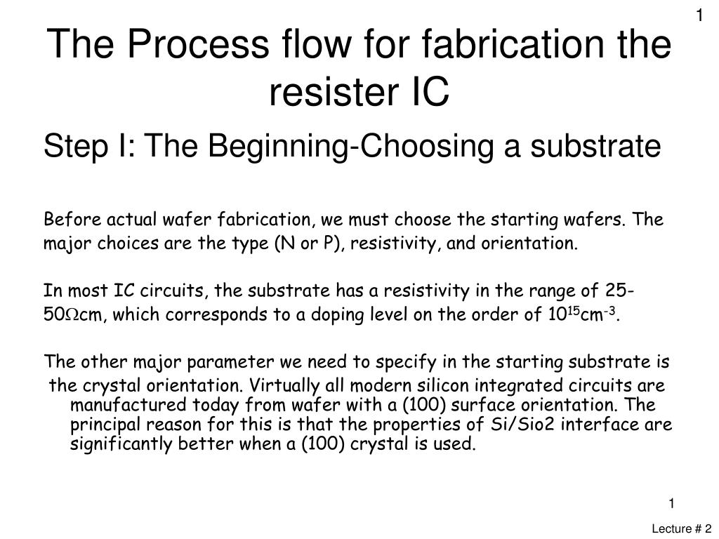 Ppt The Process Flow For Fabrication Resister Ic Powerpoint Diffusion Of Impurities N