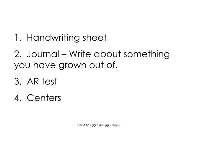 1.  Handwriting sheet