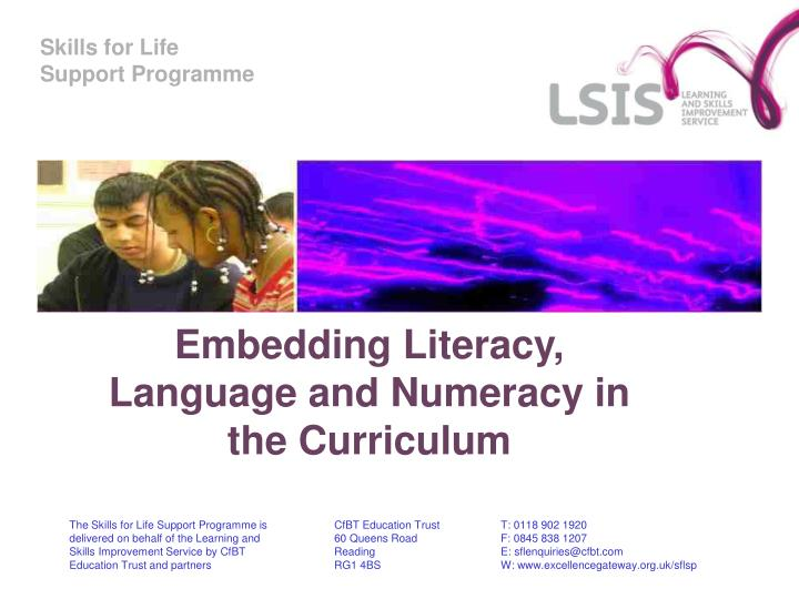 embedding literacy language and numeracy in the curriculum n.