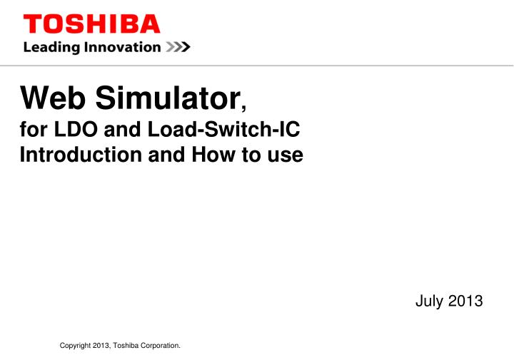 Web simulator for ldo and load switch ic introduction and how to use