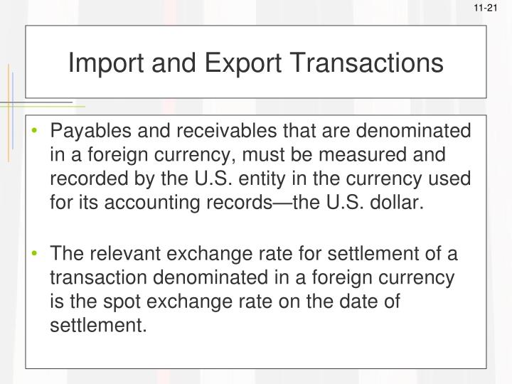 Import and Export Transactions